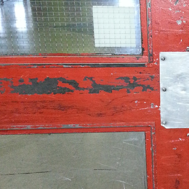 Arena Door with Wired Glass missing (closeup)