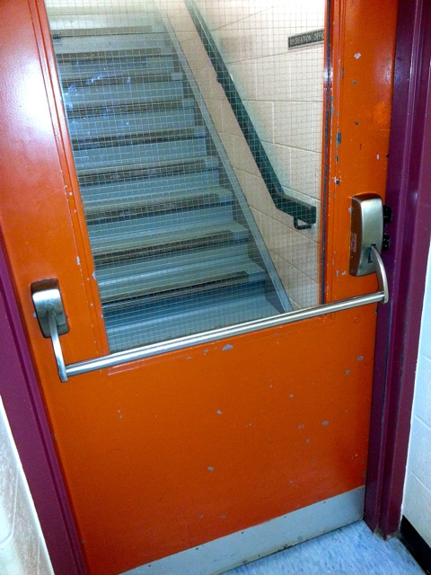 Door with Wired Glass at bottom of stairs